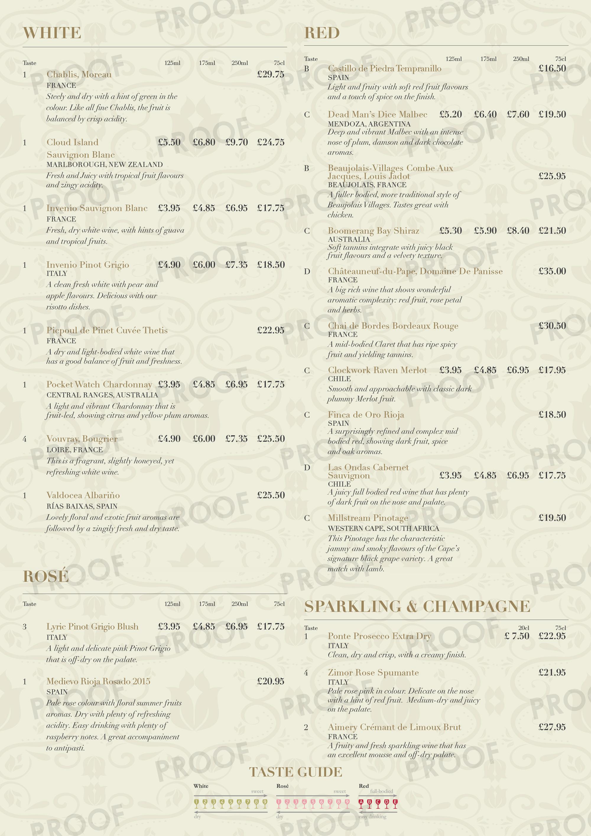 Three horseshoes Groesffordd wine menu